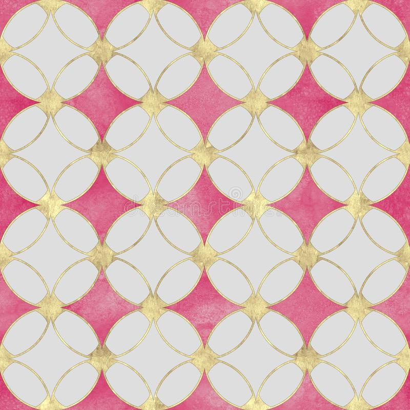 Textura luxuosa do sumário sem emenda do brilho do ouro do rosa do watercolour ilustração stock