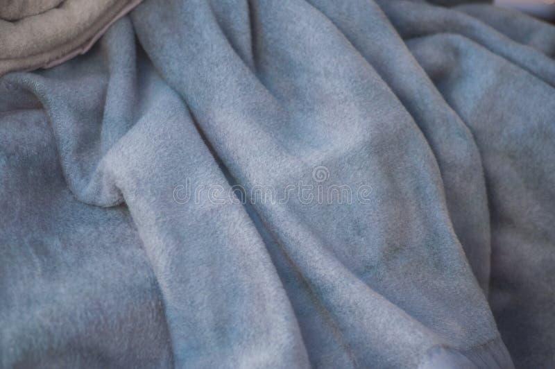 textura macia azul da manta foto de stock