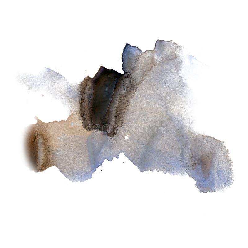 Textura macra azul de la mancha del punto del negro líquido de la acuarela del tinte del watercolour de la salpicadura de la tint ilustración del vector