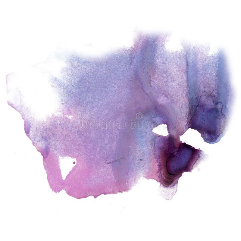 Textura macra de la mancha del punto de la acuarela líquida púrpura del tinte del watercolour de la salpicadura de la tinta aisla fotografía de archivo