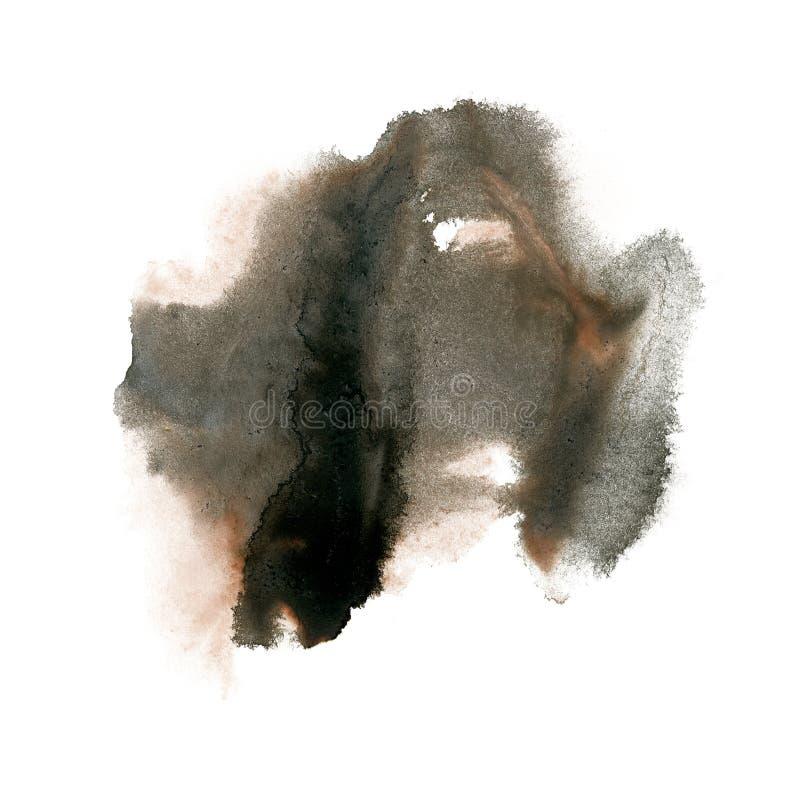 Textura macra de la mancha del punto de la acuarela marrón negra líquida del tinte del watercolour de la salpicadura de la tinta  ilustración del vector