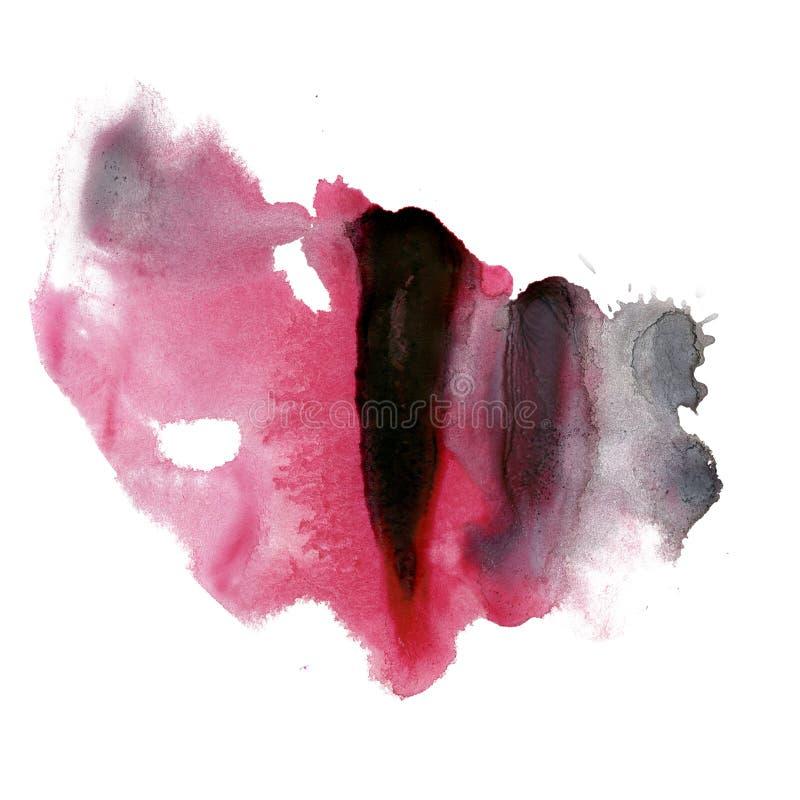 Textura macra de la mancha del punto de la acuarela negra rosada líquida del tinte del watercolour de la tinta de la salpicadura  ilustración del vector