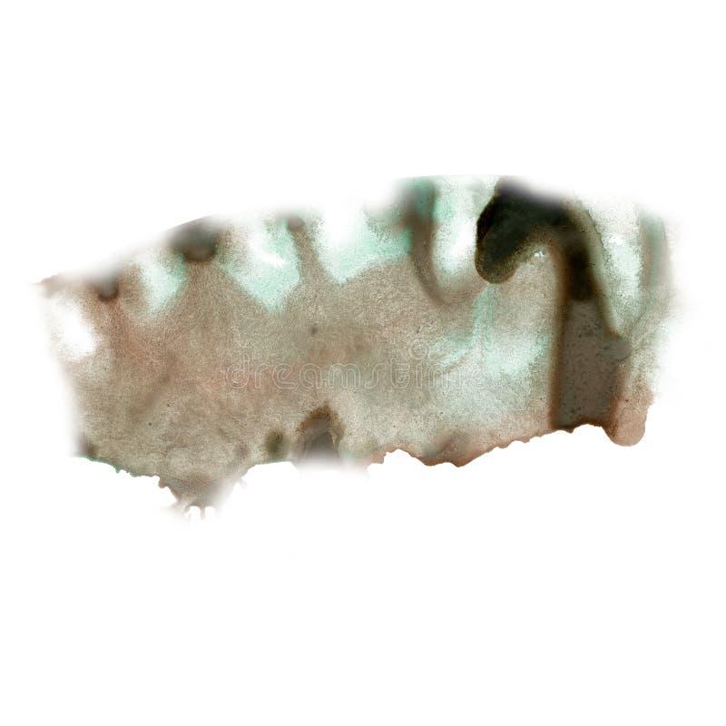 Textura macra de la mancha del punto de la salpicadura de la tinta del watercolour de la acuarela líquida verde negra del tinte a fotografía de archivo libre de regalías