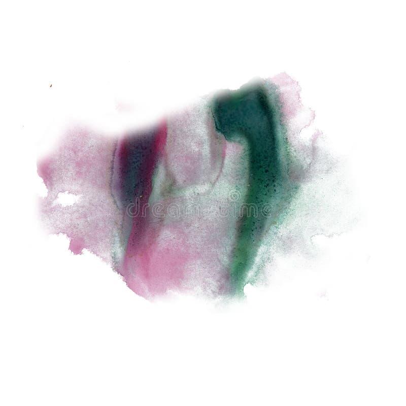 Textura macra de la mancha del punto del watercolour del verde de la salpicadura de la tinta de la acuarela líquida roja del tint imagen de archivo libre de regalías