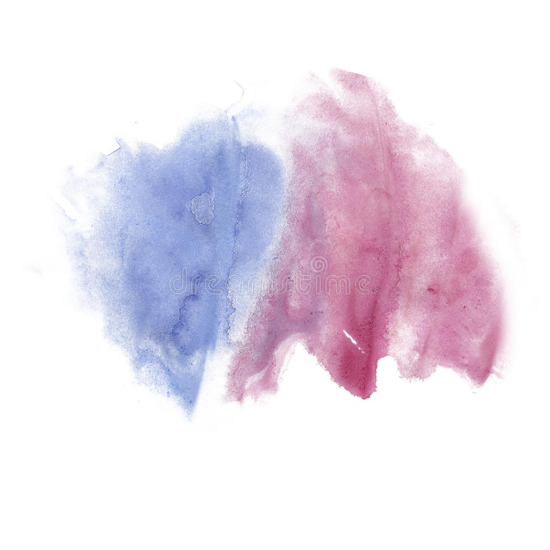 Textura macra púrpura azul de la mancha del punto de la acuarela líquida del tinte del watercolour de la salpicadura de la tinta  foto de archivo