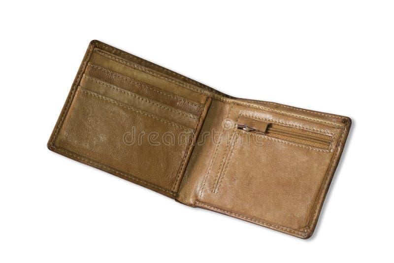 Textura marrom curto do couro da cor da carteira isolada no fundo branco imagem de stock royalty free
