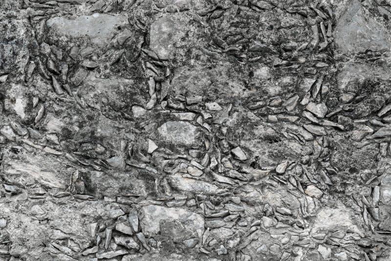 Textura maya mexicana de la pared de la piedra y del mortero de Tradtitional en imagen de archivo libre de regalías