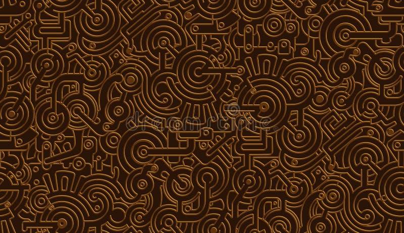 Textura mecânica do teste padrão do vetor sem emenda Isolado Steampunk metálico Bronze, cobre ilustração royalty free