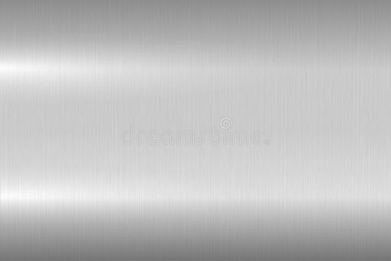 Textura metálica cepillada brillante, fondo Superficie de metal pulida brillante Diseño realista del primer del vector stock de ilustración
