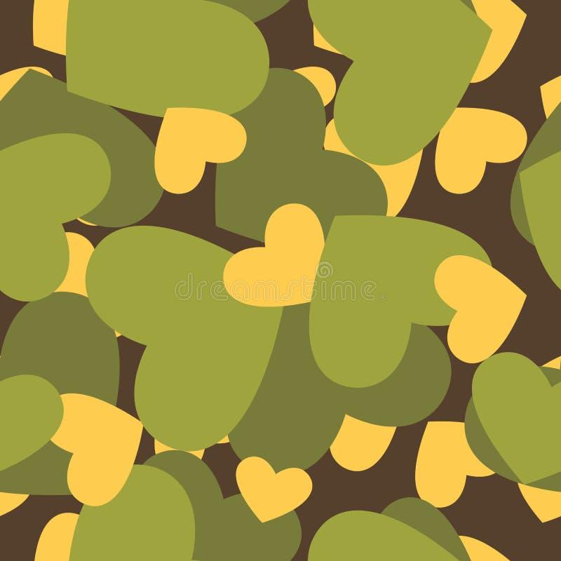 Textura militar para o amor Teste padrão sem emenda do exército da camuflagem de ilustração do vetor