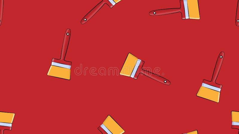 Textura, modelo abstracto inconsútil de los cepillos naturales de la pintura de la construcción hechos de las lanas para la repar stock de ilustración