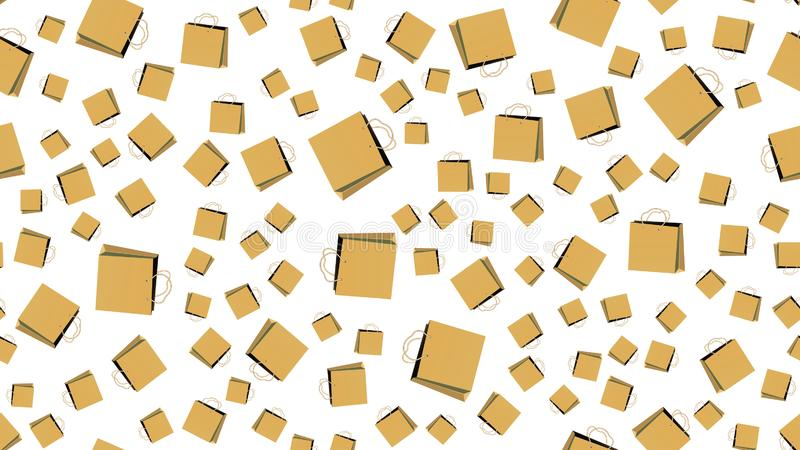 Textura, modelo inconsútil de bolsas de papel con las manijas, cajas que hacen compras Cartel para las ventas del cliente Ilustra libre illustration