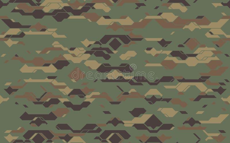 Textura moderna sem emenda da tela da camuflagem do exército Damasco futurista do camo do vetor abstrato ilustração royalty free