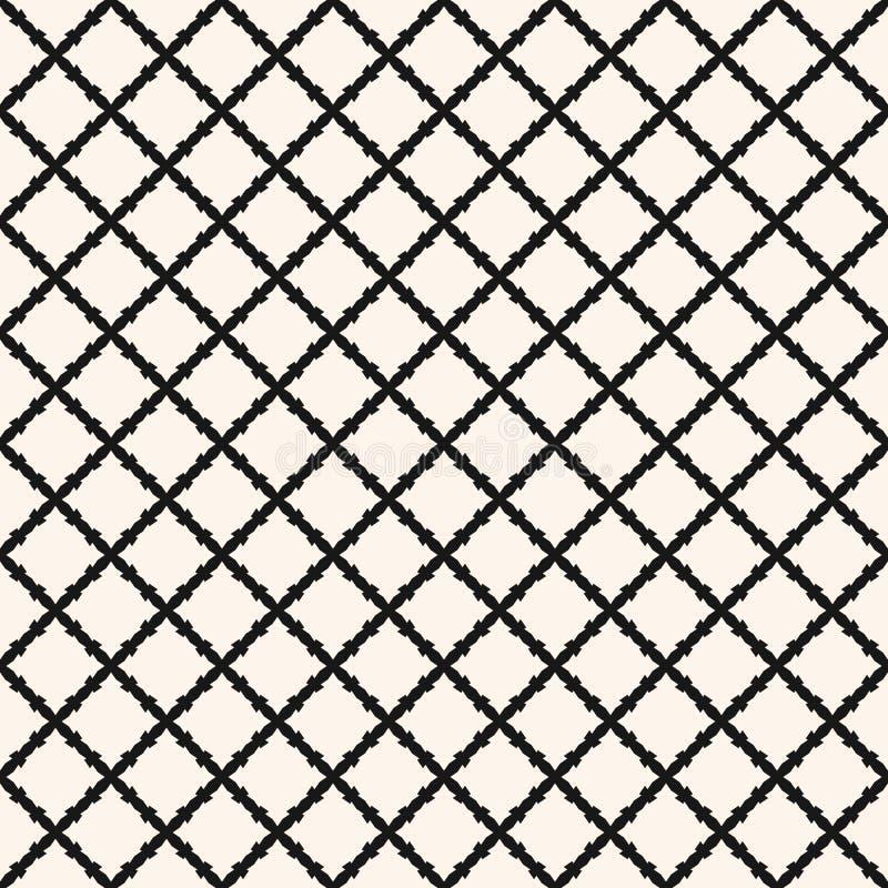 Textura monocromática geométrica do sumário com linhas transversais diagonais, rombos, malha pequena, estrutura, grade, arame far ilustração stock