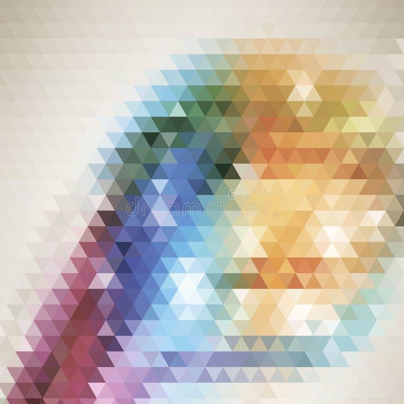 Textura multicolora oscura de los triángulos de la pendiente del vector con un corazón en un centro Ejemplo abstracto con un eleg stock de ilustración