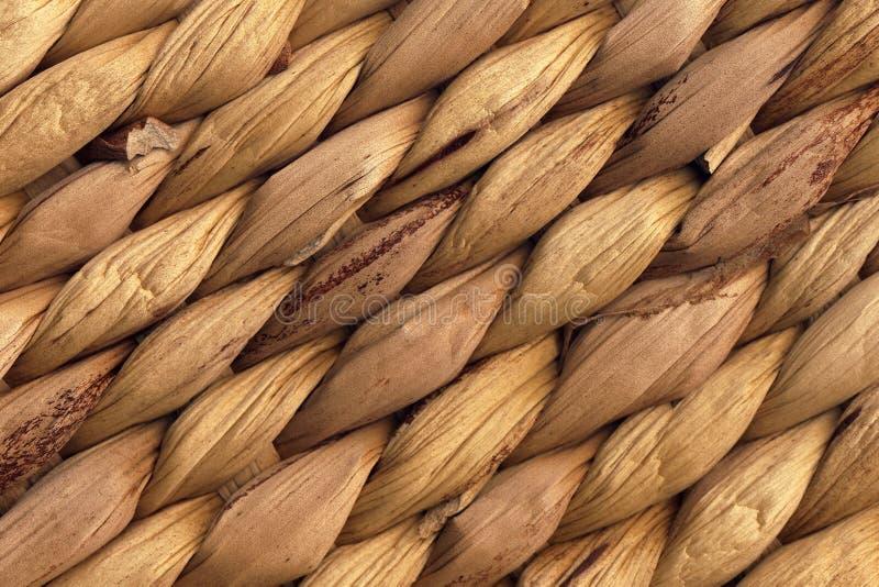 Textura natural de Mat Rough Plaiting Grunge Background da ráfia de Brown foto de stock