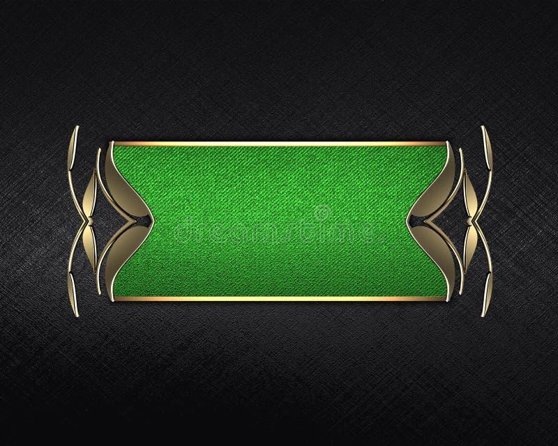 Textura negra con una muestra verde para el texto Plantilla para el diseño copie el espacio para el folleto del anuncio o la invi stock de ilustración
