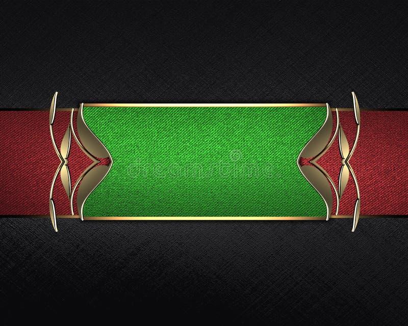 Textura negra con una muestra verde para el texto Plantilla para el diseño copie el espacio para el folleto del anuncio o la invi ilustración del vector