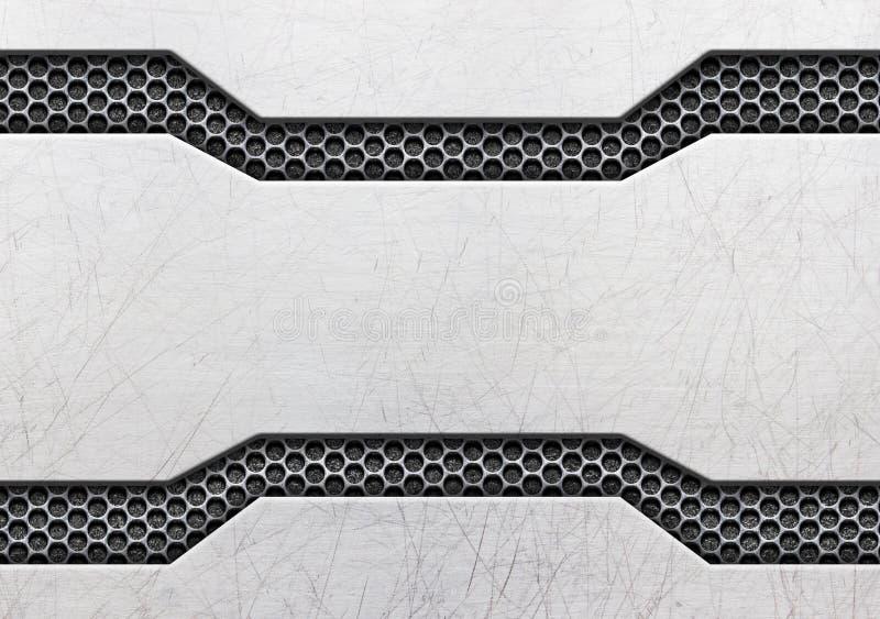 Textura negra de la placa de metal o de la armadura del grunge, 3d, ejemplo stock de ilustración