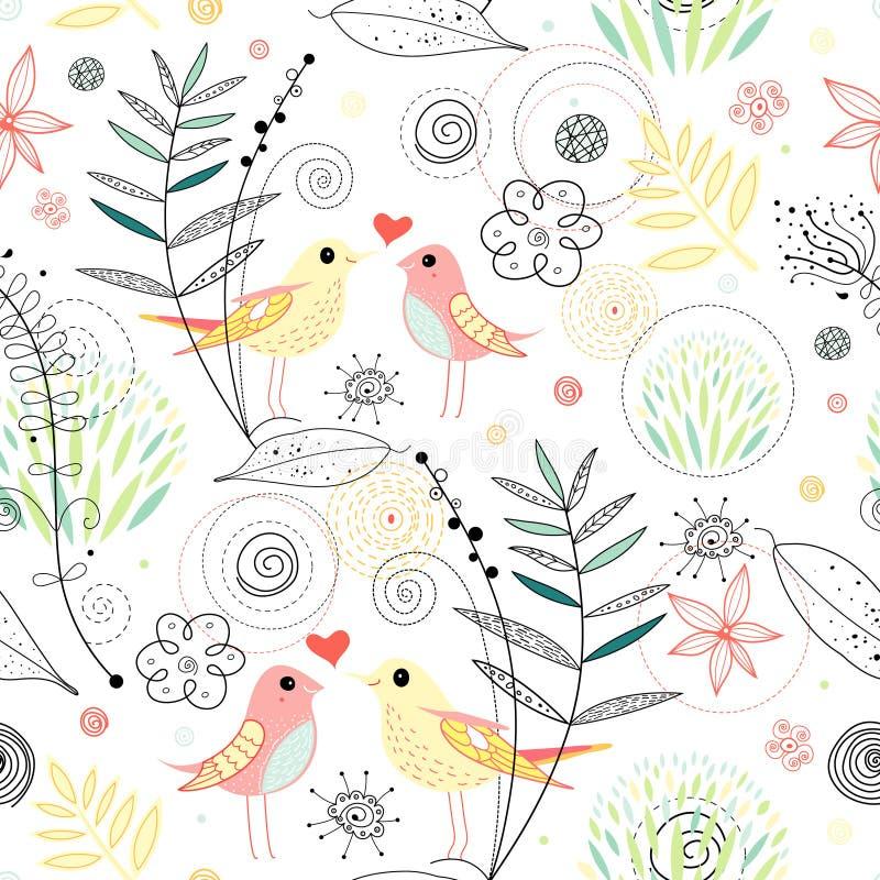 Textura no amor com pássaros ilustração stock