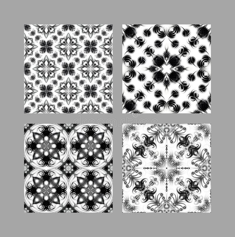 Textura ornamental del embaldosado inconsútil blanco y negro stock de ilustración
