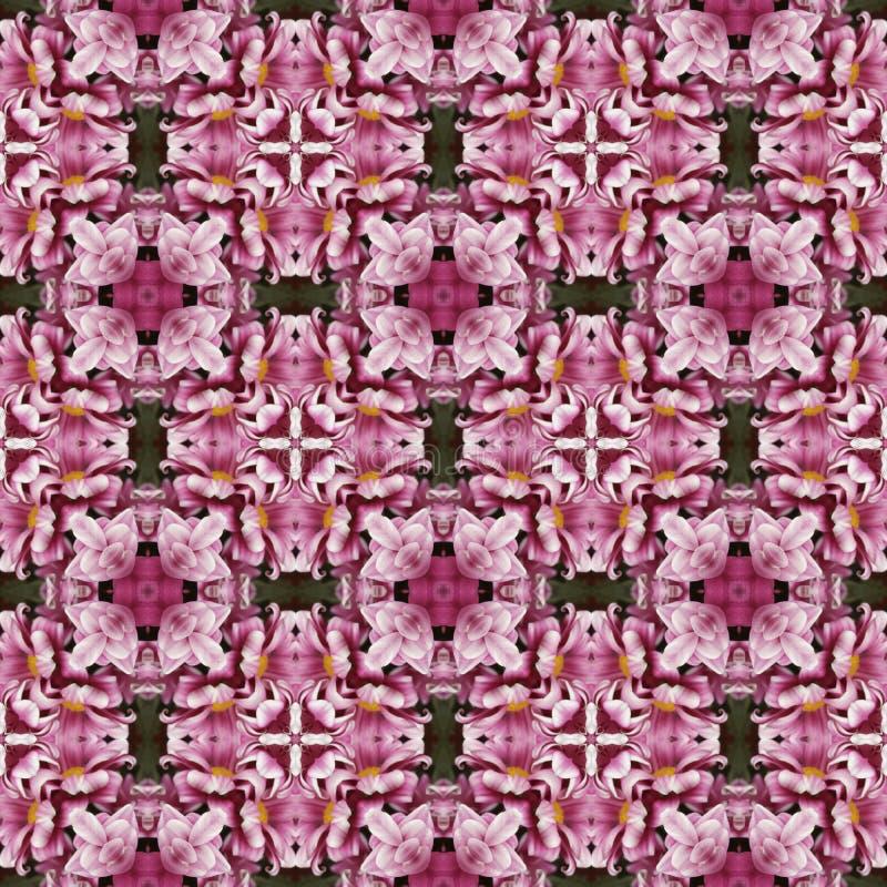 Textura ou teste padrão sem emenda do kaledoscope da flor cor-de-rosa ilustração royalty free