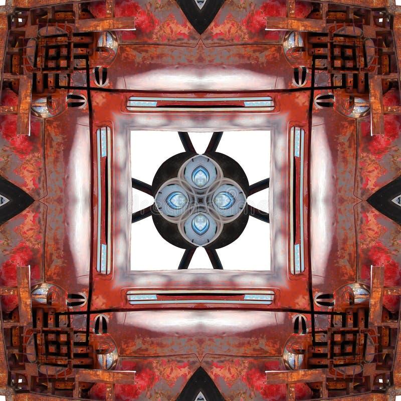 Textura oxidada del elemento del metal del extracto simétrico inconsútil del modelo imagen de archivo