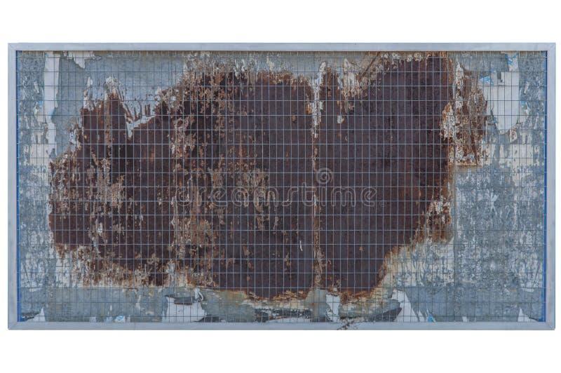 Textura oxidada do bullboard velho e construção vazia do metal isoladas foto de stock