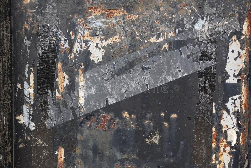 Textura oxidada do metal com pintura preta lascada imagem de stock royalty free