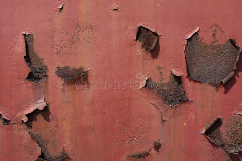 Textura oxidada e riscada vermelha do fundo da superfície de metal fotografia de stock royalty free
