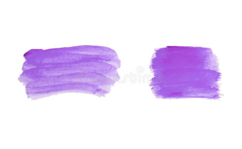 Textura púrpura violeta determinada en el fondo blanco, tinta del vector, decoración de acrílico violeta de la acuarela stock de ilustración