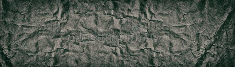 Textura panorâmico larga velha do vintage do papel amarrotado fotografia de stock