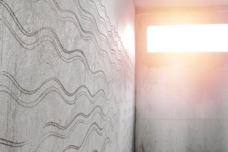 A textura para prepara as telhas da parede do banheiro Quarto inacabado fotografia de stock