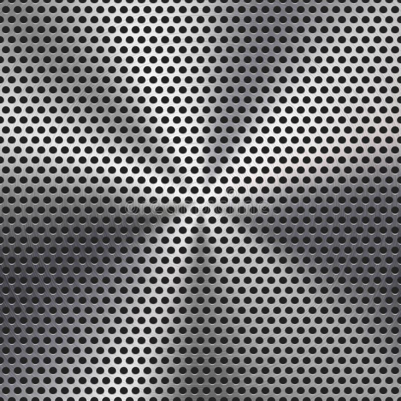 Textura perforada círculo inconsútil de la parrilla del metal ilustración del vector