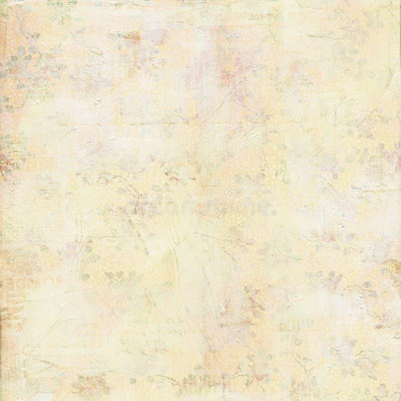 Textura pintada lona lamentable de la vendimia con las flores foto de archivo