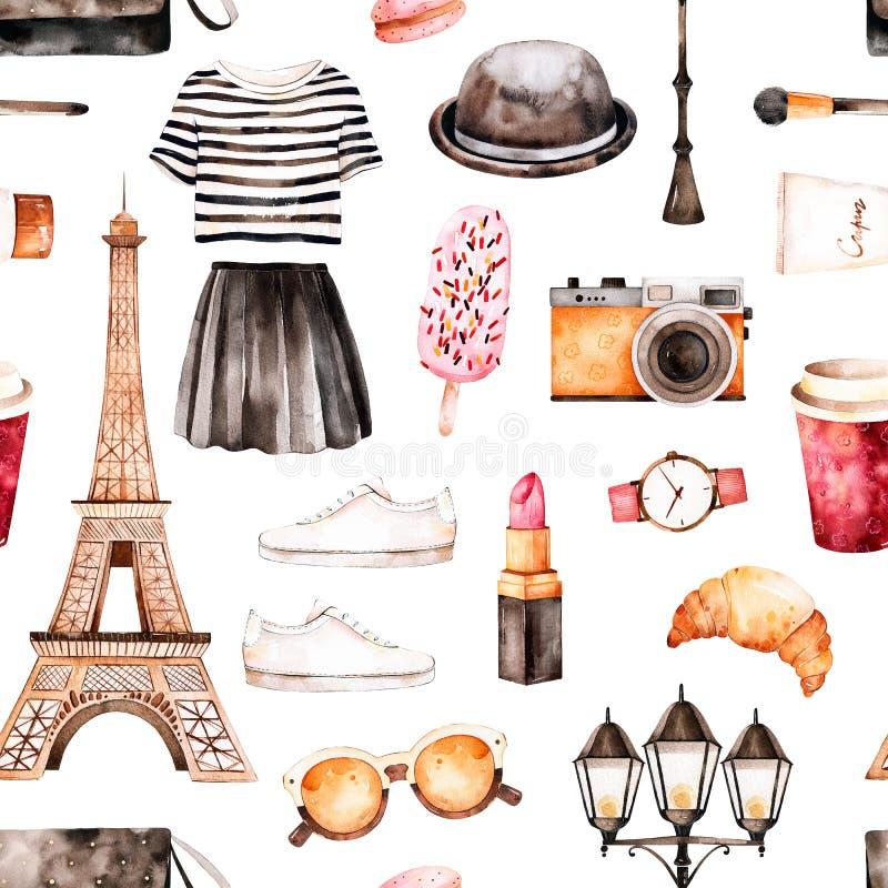 Textura pintada a mano con el top rayado, cosméticos, viaje Eiffel ilustración del vector