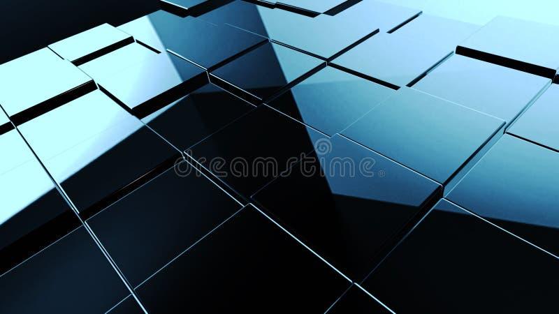 Textura preta abstrata do cubo para o fundo do projeto ilustração 3D ilustração do vetor