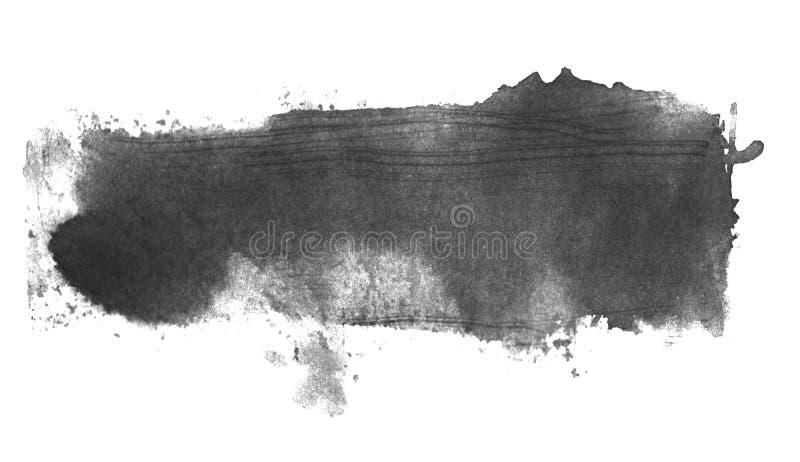Textura preta cinzenta isolada da aquarela ilustração do vetor