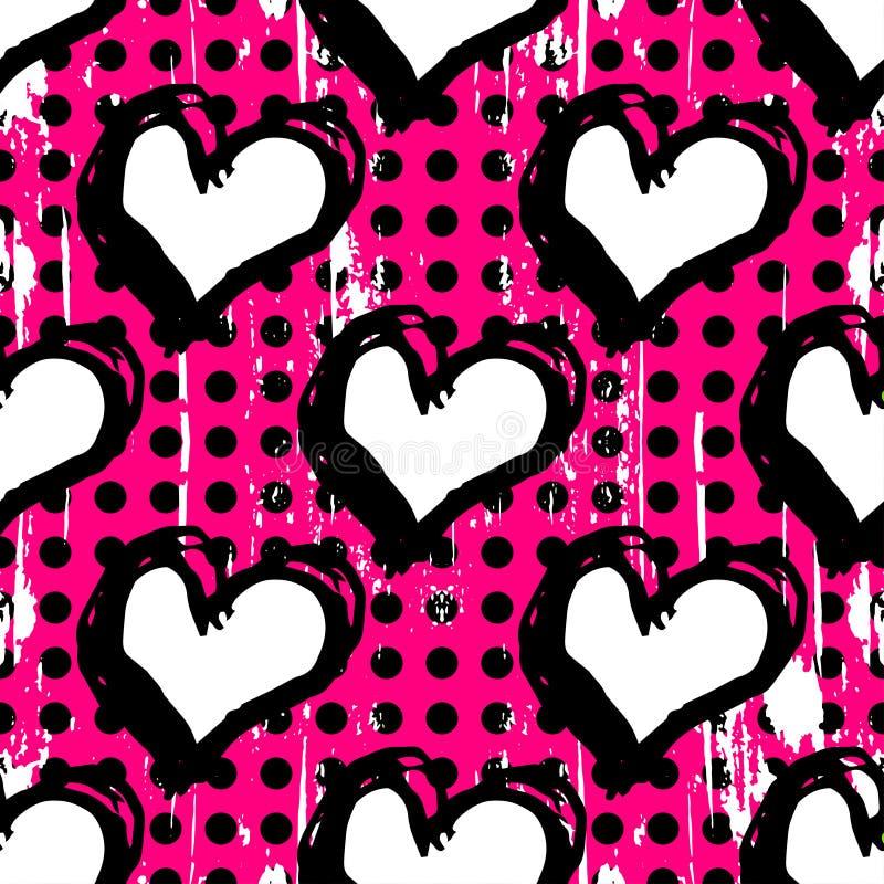 Textura psicadélico abstrata do grunge dos grafittis do fundo do coração ilustração royalty free