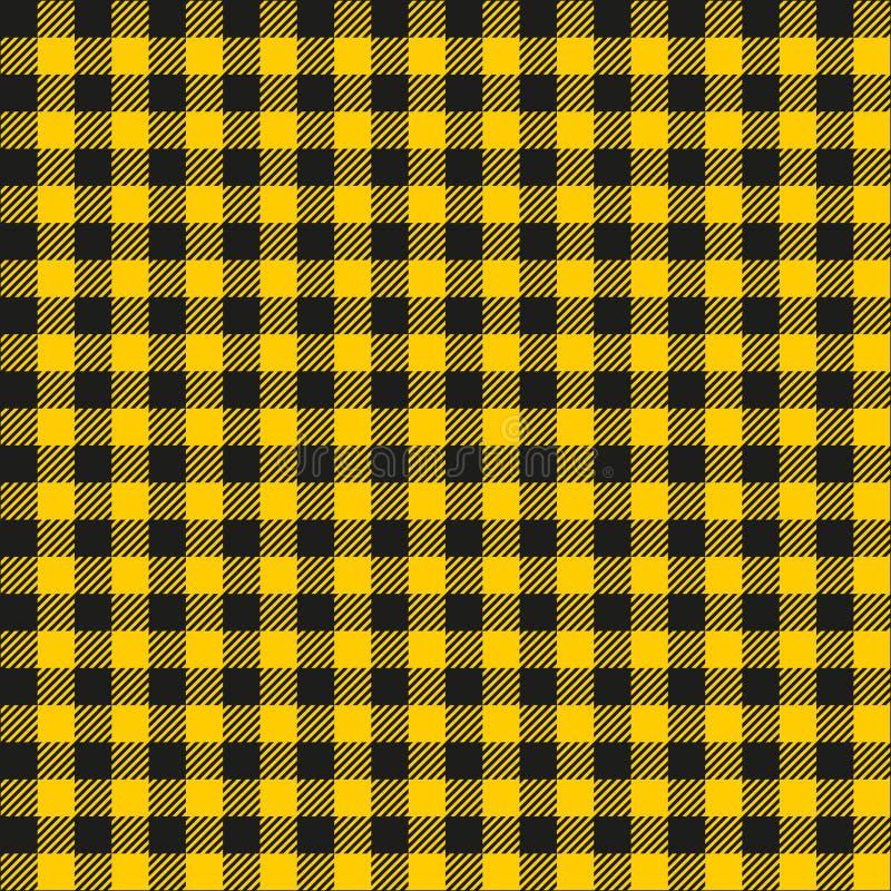 Textura quadriculado amarela e preta da mostarda sem emenda da tela do teste padrão do fundo ilustração do vetor
