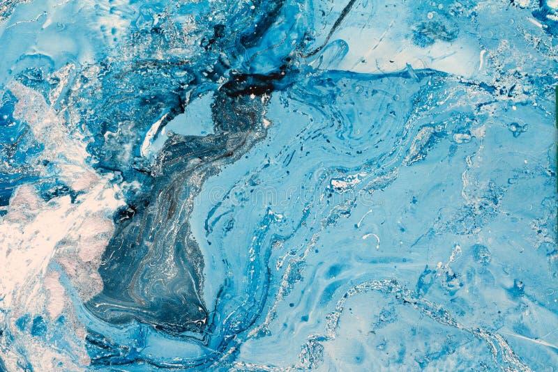 Textura que vetea azul El fondo creativo con el aceite abstracto pintado agita, superficie hecha a mano fotos de archivo