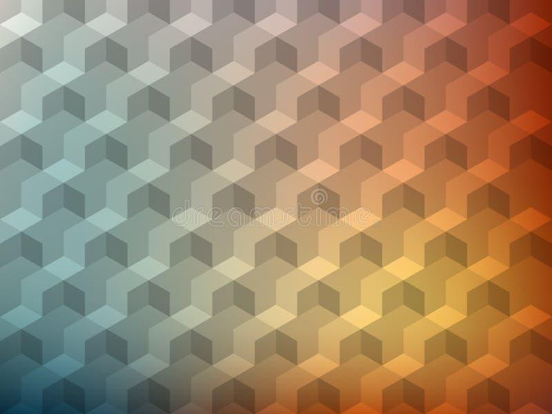 Textura realística do volume 3d cuba o teste padrão geométrico Fundo colorido do vetor do projeto ilustração do vetor