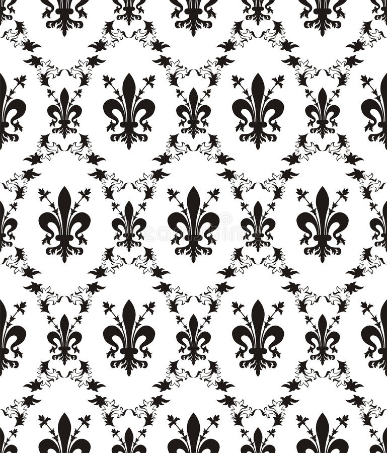 Textura real del damasco inconsútil con la flor de lis libre illustration