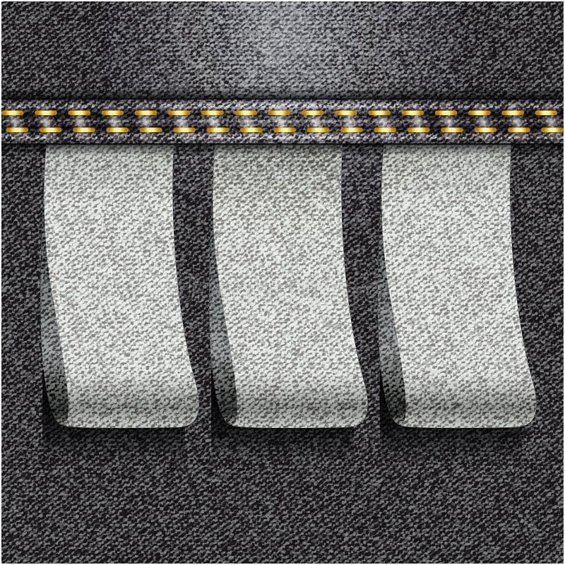 Textura realista del dril de algodón de los vaqueros negros stock de ilustración