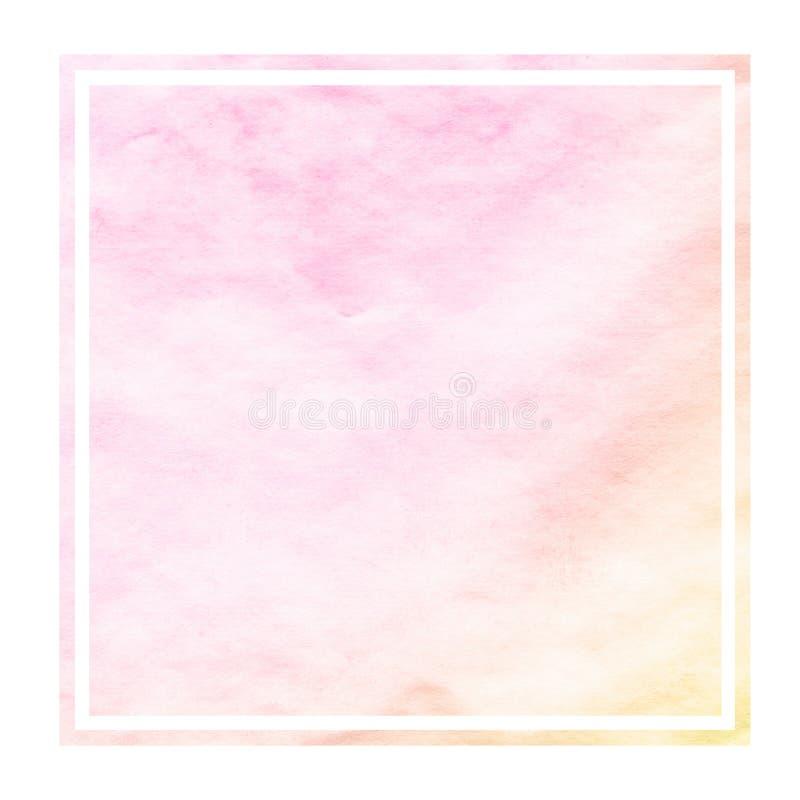 Textura rectangular del rosa y del fondo del marco de la acuarela exhausta anaranjada de la mano con las manchas libre illustration