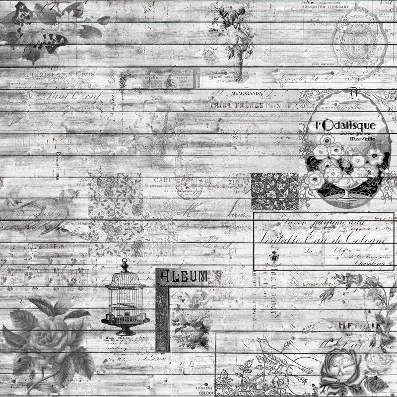 Textura retra de madera del vintage y del collage del fondo de las Ephemeras en blanco y negro stock de ilustración