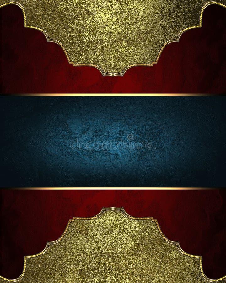 Textura roja con el marco del oro y lugar para el texto Plantilla para el diseño copie el espacio para el folleto del anuncio o l stock de ilustración