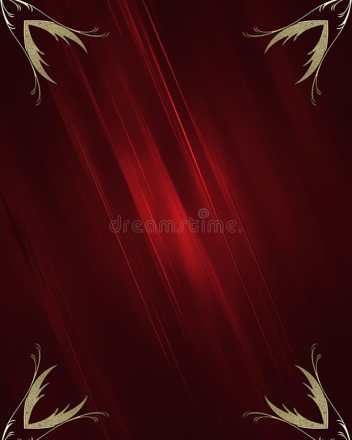 Textura roja con el modelo del oro Plantilla para el diseño stock de ilustración