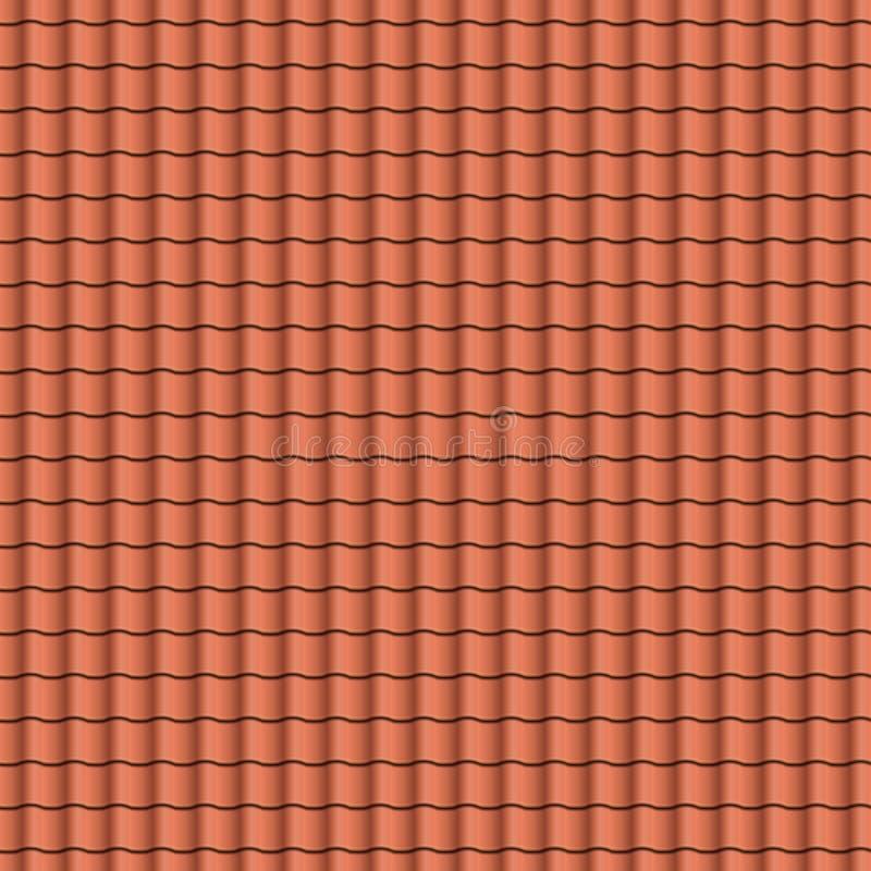 Textura roja del fondo de las tejas de tejado en filas regulares Modelo inconsútil Ilustración del vector stock de ilustración