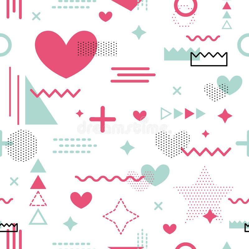 Textura romántica de la tela del tejido del modelo de Memphis del vector de tarjetas del día de San Valentín del día de las forma ilustración del vector